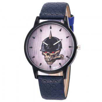 Smoking Skull Face Quartz Watch - DEEP BLUE DEEP BLUE