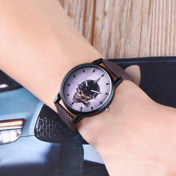 Smoking Skull Face Quartz Watch - BROWN