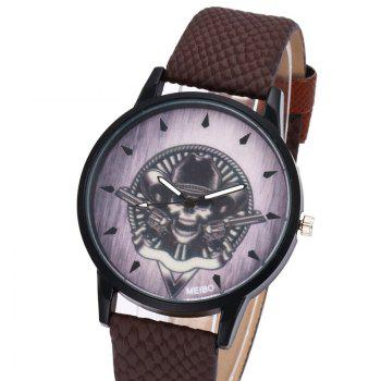Gun Skull Face Quartz Watch -  BROWN