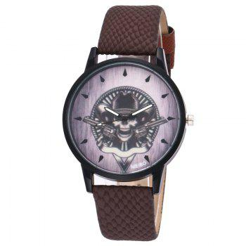 Gun Skull Face Quartz Watch - BROWN BROWN