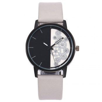 Gear Pattern Faux Leather Watch - WHITE WHITE