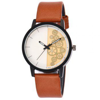 Gear Pattern Faux Leather Watch - ORANGE ORANGE