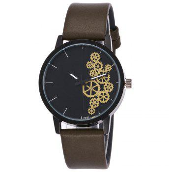Gear Pattern Faux Leather Watch - ARMY GREEN ARMY GREEN