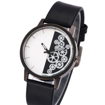 Gear Pattern Faux Leather Watch -  PINKBEIGE