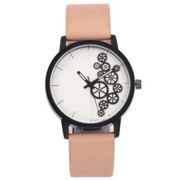 Gear Pattern Faux Leather Watch - PINKBEIGE PINKBEIGE