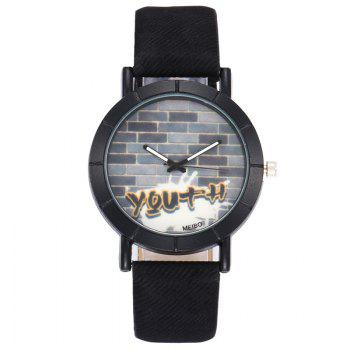 Brick Wall Face Quartz Watch - BLACK