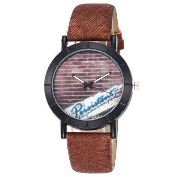 Brick Wall Face Quartz Watch - COFFEE COFFEE