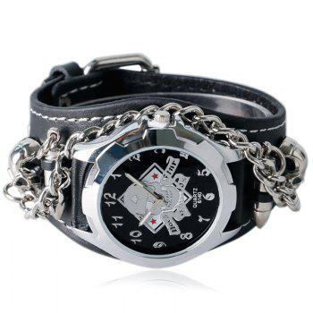 Gothic Style Chain Embellished Analog Watch - BLACK
