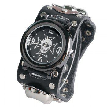 Gothic Style Skull Rivet Watch - BLACK BLACK