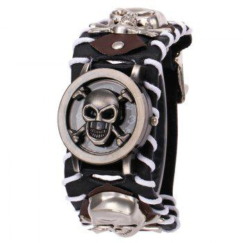 Gothic Style Skull Number Watch - BLACK BLACK