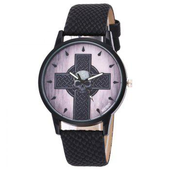 Cross Skull Face Quartz Watch - BLACK BLACK