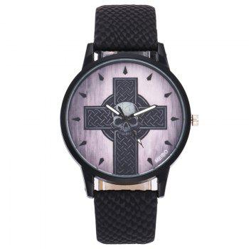 Cross Skull Face Quartz Watch -  BLACK