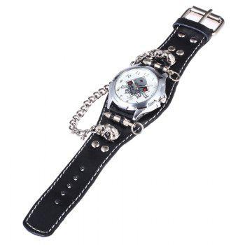 Gothic Style Skull Bullet Number Quartz Watch - BLACK