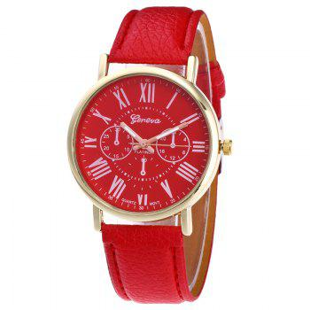 Roman Numeral Round Watch - RED RED
