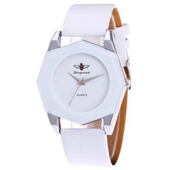 Faux Leather Octagon Watch - WHITE WHITE