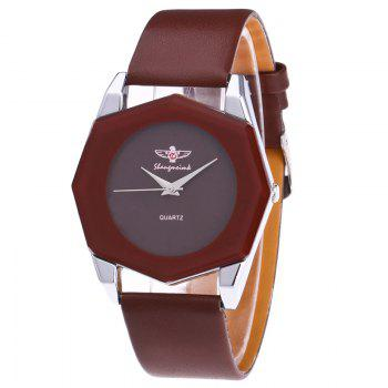 Faux Leather Octagon Watch - BROWN BROWN