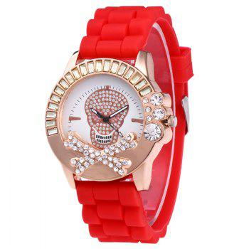 Rhinestone Skull Silicone Watch - RED RED