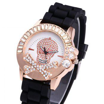Rhinestone Skull Silicone Watch - BLACK