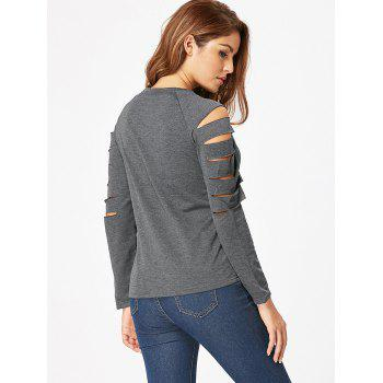 Ripped Cut Out Long Sleeve T Shirt - GRAY S