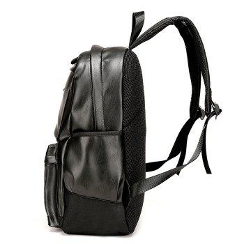 Faux Leather Side Pocket Backpack -  BLACK