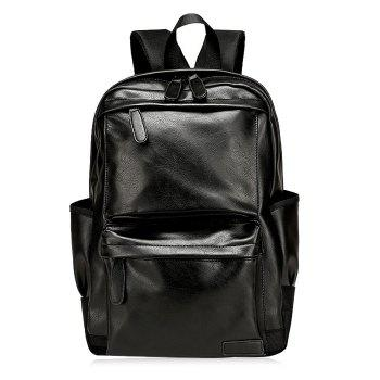 Faux Leather Side Pocket Backpack - BLACK BLACK