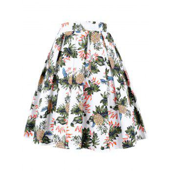 Pineapple Pleated A Line Skirt - WHITE L