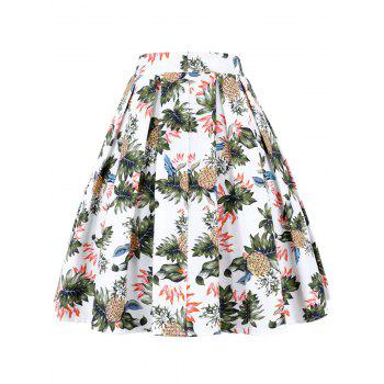 Pineapple Pleated A Line Skirt - WHITE WHITE