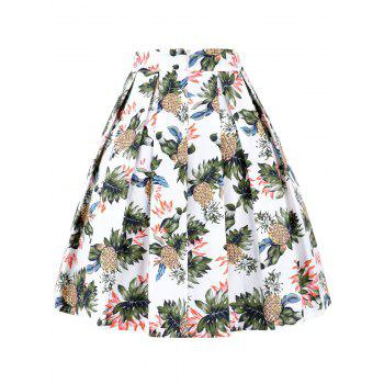Pineapple Pleated A Line Skirt - WHITE 2XL