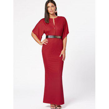 Raglan Sleeve V Neck Bodycon Maxi Dress - Rouge S