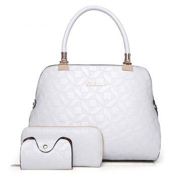 Quilted 3 Pieces Metal Tote Bag Set - OFF-WHITE OFF WHITE