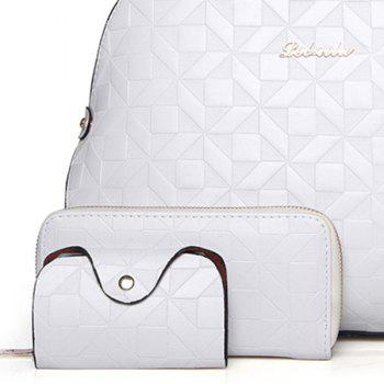 Quilted 3 Pieces Metal Tote Bag Set - OFF WHITE