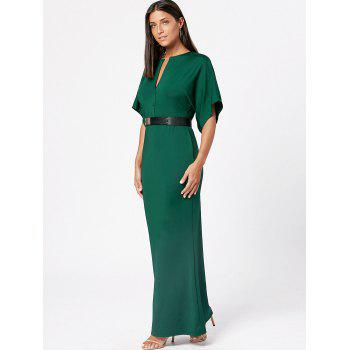 Raglan Sleeve V Neck Bodycon Maxi Dress - Vert Armée M