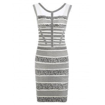 Mesh Insert Sleeveless Print Bandage Dress - WHITE WHITE