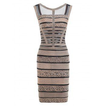 Mesh Insert Sleeveless Print Bandage Dress - BLACK BLACK