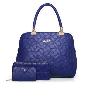 Quilted 3 Pieces Metal Tote Bag Set - BLUE BLUE
