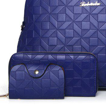 Quilted 3 Pieces Metal Tote Bag Set -  BLUE