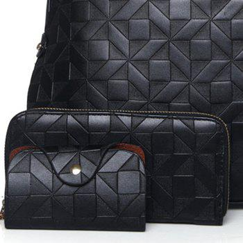 Quilted 3 Pieces Metal Tote Bag Set -  BLACK