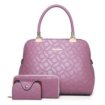 Quilted 3 Pieces Metal Tote Bag Set - PINK PINK