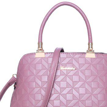 Quilted 3 Pieces Metal Tote Bag Set -  PINK