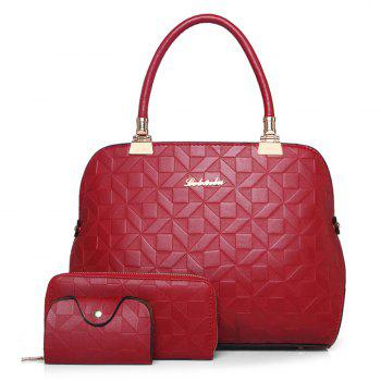 Quilted 3 Pieces Metal Tote Bag Set - RED RED