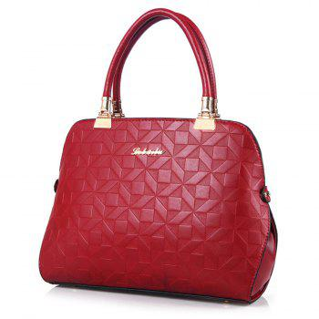 Quilted 3 Pieces Metal Tote Bag Set - RED