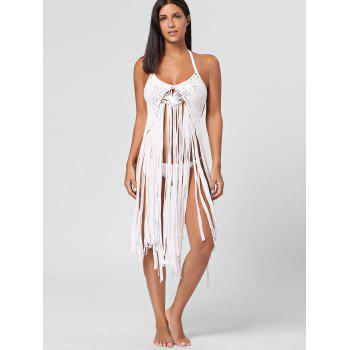 Halter Long Fringe Crochet Cover Up - WHITE M