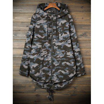 Hooded Camouflage Pockets Lightweight Coat - CAMOUFLAGE GRAY M
