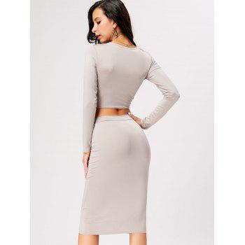 Front Knot Crop Top With Midi Bodycon Skirt - GRAY XL