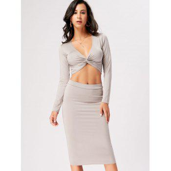Front Knot Crop Top With Midi Bodycon Skirt - L L