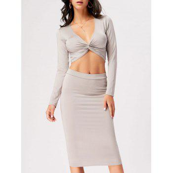 Front Knot Crop Top With Midi Bodycon Skirt - GRAY M