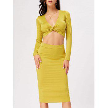 Front Knot Crop Top With Midi Bodycon Skirt - YELLOW M