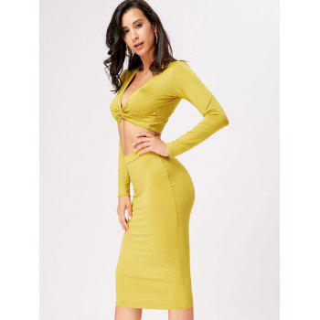 Front Knot Crop Top With Midi Bodycon Skirt - M M