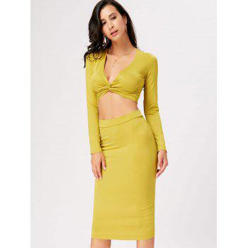 Front Knot Crop Top With Midi Bodycon Skirt - YELLOW S