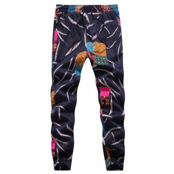 Embossing Leaves and Patches Jogger Pants - COLORMIX L